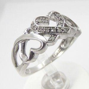 Genuine 16 DIAMONDS Sterling SILVER Heart Ring 7.5